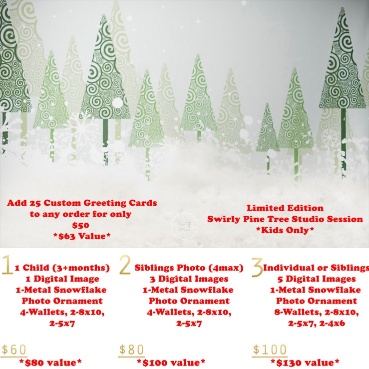 Swirly Pine Trees Holiday Mini Session template